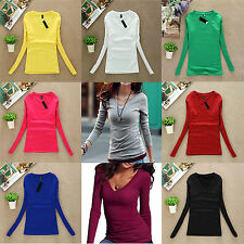 Women Soild Cotton Soft Long Sleeve V-neck Thin Base T-shirt Casual Durable Tops