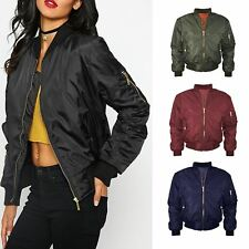Womens Bomber Jacket Classic Padded Stylish Vintage Zip Up Ladies Biker Coat