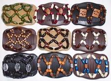 Double Magic Hair Combs, African Style Butterfly Clips, Multicolor Beads, S46