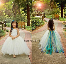 White Tulle Pageant Formal Party Gowns One-Shoulder Wedding Flower Girl Dresses