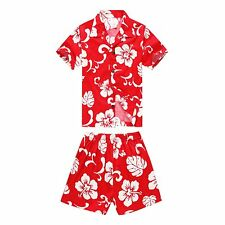 Boy Toddler Aloha Shirt Set Shorts Beach Hawaii Cruise Luau Cotton Red Hibiscus