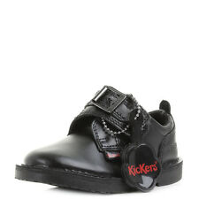Boys Kickers Adlar Monk Strap Infant Black Leather School Shoes Shu Size