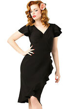 Sexy woman ladies hot Black 50s Flutter Sleeves Wrap Ruffled Vintage Dress top