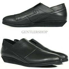 Avant Garde Men's Fashion Black Stitched Leather Slip On Shoes, GENTLERSHOP
