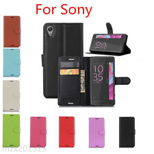 NEW Litchi Folio Credit Card Slot Stand PU Leather Case For Sony Xperia Series M