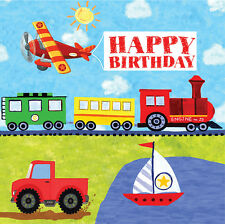 On The Go Trucks Trains Planes & Boats Party Plates, Napkins, Loot Bags, Etc