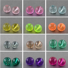 1Strand 8mm Drawbench Transparent Glass Round Beads Strands Spray Painted Charms