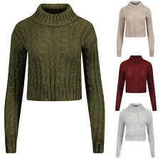 New Womens Ladies Cable Knit Polo Neck Long Sleeve Crop Top Jumper  UK 8 -14