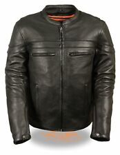 MEN'S MOTORCYCLE BLK SPORTY SCOOTER JACKET WITH 2 GUN POCKETS INSIDE NAKED COW