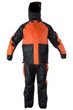 MEN'S MOTORCYCLE RAIN GEAR RAIN SUIT WATERPROOF LIGHTWEIGHT BLK/ORANGE COLOR