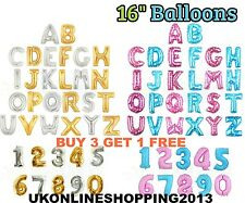 """Gold, Silver, Blue & Pink 16"""" Alphabet Letter Number Foil Balloons PARTY BALOONS"""