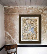 Yellowstone National Park Antique Map Photo Poster Print Sizes 12x18 to 32x48