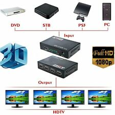Full HD HDMI Splitter 1X4 4 Port Hub Repeater Amplifier v1.4 3D 1080p 1 in 4 out