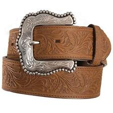 Tony Lama Western Mens Belt Leather Layla Tooled Brown Made in The USA C50739