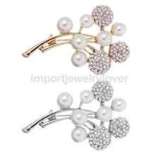 Women Jewelry Pearls Diamante Crystal Rhinestone Round Balls Brooches Pins