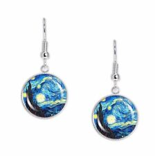 "The Starry Night Van Gogh Art Painting Dangle Earrings 3/4"" Art Print Charms ST"