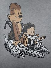 STAR WARS Han Solo Chewbacca Falcon Calvin Hobbes Best Buds Womens T-Shirt S-XL