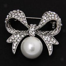 New Alloy Rhinestone Bowknot Pearls Brooch Pins Jewelry Costume