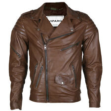 VIPARO  Mens Dark Brown Brando Leather Quilted Lambskin Biker Jacket - Searle