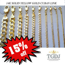 """BRAND NEW 14k SOLID Yellow Gold Cuban Curb Chain Necklace 16"""" - 30"""""""