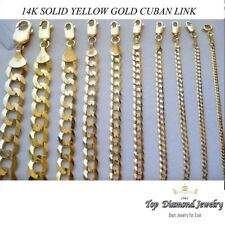 "2.0MM- 6MM 14K SOLID YELLOW GOLD CUBAN LINK WOMEN/ MEN'S NECKLACE CHAIN 16""-30"""