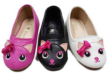 Baby Toddler Girls Kitty Cat Face Front Ribbon Round Toe Ballet Flats Slippers