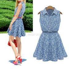 Summer Women Mini Sleeveless Floral Print Denim Party Short Flared Skater Dress