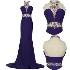 Sexy High-Split Halter Beaded Bridesmaids Gown Evening Prom Party Dress Purple