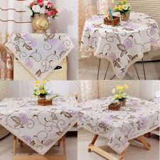 Embroidered Purple Flower Lace Cotton Linen Tablecloth Cover Wedding Party Decor