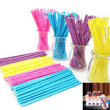 New 100x 10cm Paper Lollipop Lolly Candy Pop Sucker Sticks Chocolate Cake Cookie