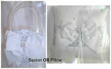 Silver Glitter & White Damask Wedding Flower Girl Basket OR Ring Bearer Pillow