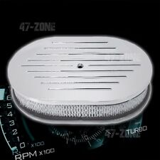 """ALUMINUM 12"""" OVAL AIR CLEANER PAPER FILTER BALL MILLED - POLISHED"""