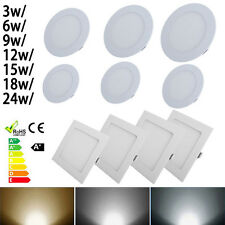 Modern Round & Square LED Ceiling Panel Down Lights 3/6/9/12/18/24W Lamp Bulb