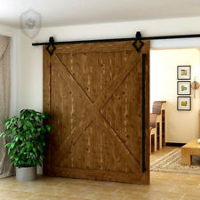 7.5FT/2300mm diamond Hardware Wood Sliding Track Barn Door Hardware  Black Kit