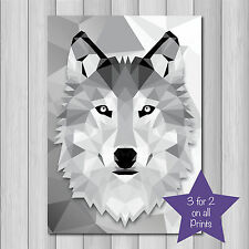 ABSTRACT GEOMETRIC ANIMAL WOLF ++  A4 Modern Wall Art Picture Print Decor greys