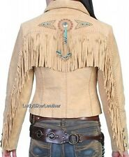 LADIES Beaded WESTERN Fringe TAN BLACK or TURQUOISE Suede LEATHER Jacket CONCHOS
