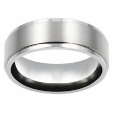 8mm Men's Tungsten carbide Step Edge With Brush Center Wedding Band Ring