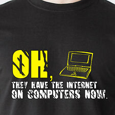 Oh, they have the Internet on computers now. phone retro simpson Funny T-Shirt