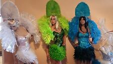 SAMBA Rio Carnival Sequin real Feather Dress Up Stage Performance Costume NEW !