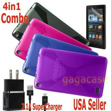 4in1 Amazon 2015 Kindle Fire 7 Gel Case Cover + Power Adapter + Screen Protector