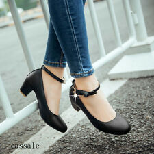 Lolita Round Toe Womens Ankle Strap Bow Chunky Heels Dress Casual mary Jane Shoe