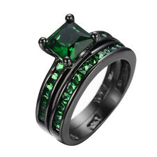 Size 6-10 Emerald Green CZ Band Women's 10K Black Gold Filled Party Wedding Ring