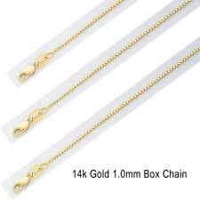 """1MM 14k Solid Yellow Gold Italian Box New Chain Necklace Lobster Clasp 16""""-24"""""""