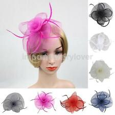 Flower Feather Fascinator Mesh Veil Hat Hair Pins Wedding Bridal Prom Headwear