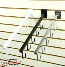 Case of 24 | Slatwall 5-J-Hook Waterfall Faceout Arm | Black, White or Chrome
