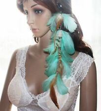 Boho Natural Exotic Cyan Feather Hair Extension Hair Clip Hippy Tribal Long Big