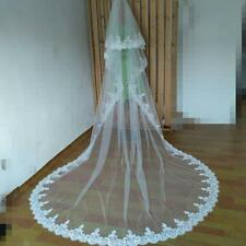 white ivory Lace Cathedral Wedding Veils 3M Long 2 Layer Bridal Veils With Comb
