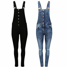 NEW Womens Denim pinafore Ladies Skinny Jeans Dungaree JumpSuit Size 8 -14