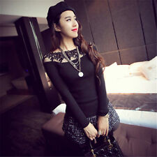 Plus Size Fashion Womens Lace Tops Sexy Long Sleeve Slim Clubwear T Shirt Blouse