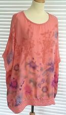 Stunning ladies floral print Italian silky slouch top with sequin trim